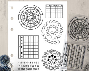 Monthly Calendar Clear Stamp Set, Bullet Journal Planner Stamps