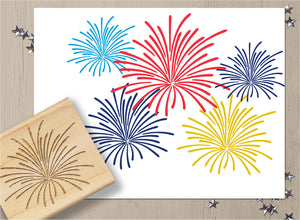 Fireworks Stamp, 4th of July Independence Day Rubber Stamp