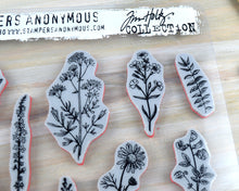 Flower Cling Stamp Set 14 pcs, Tim Holtz - Flower Jar