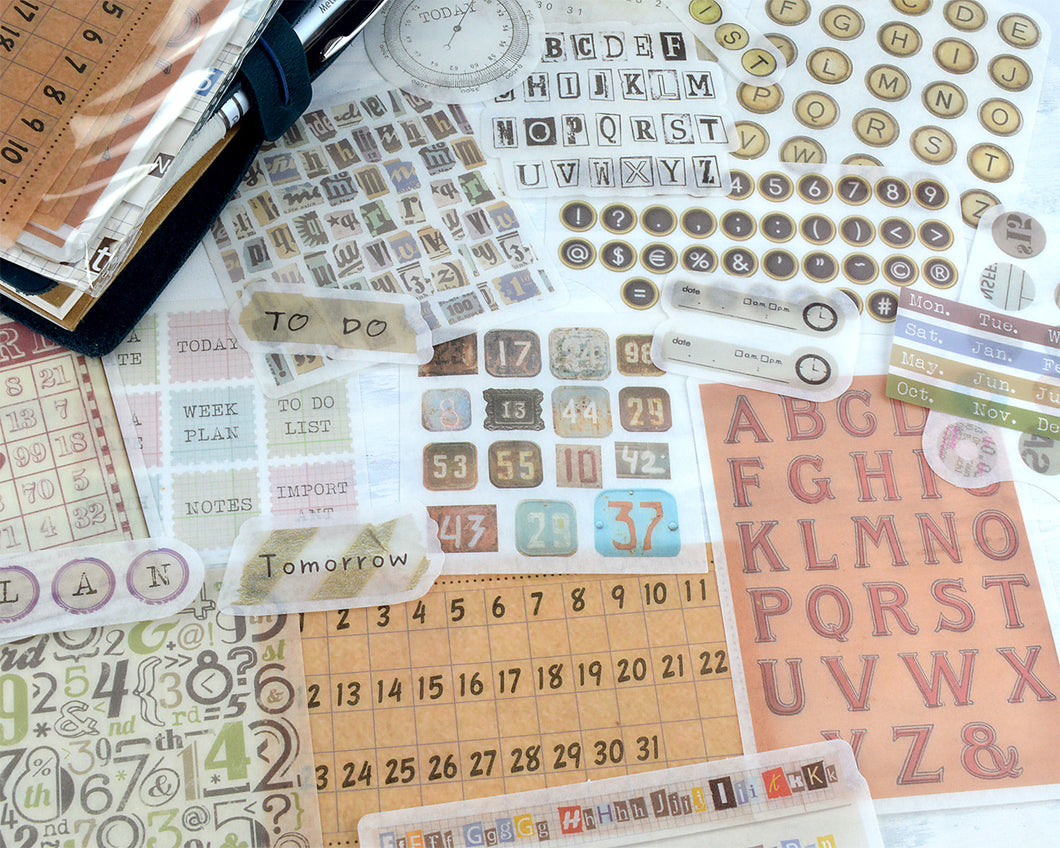 Letters and Numbers Washi Stickers, Vintage Alphabet Stickers