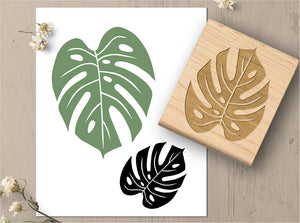 Monstera Leaf Rubber Stamp, Tropical Leaf Nature Stamp
