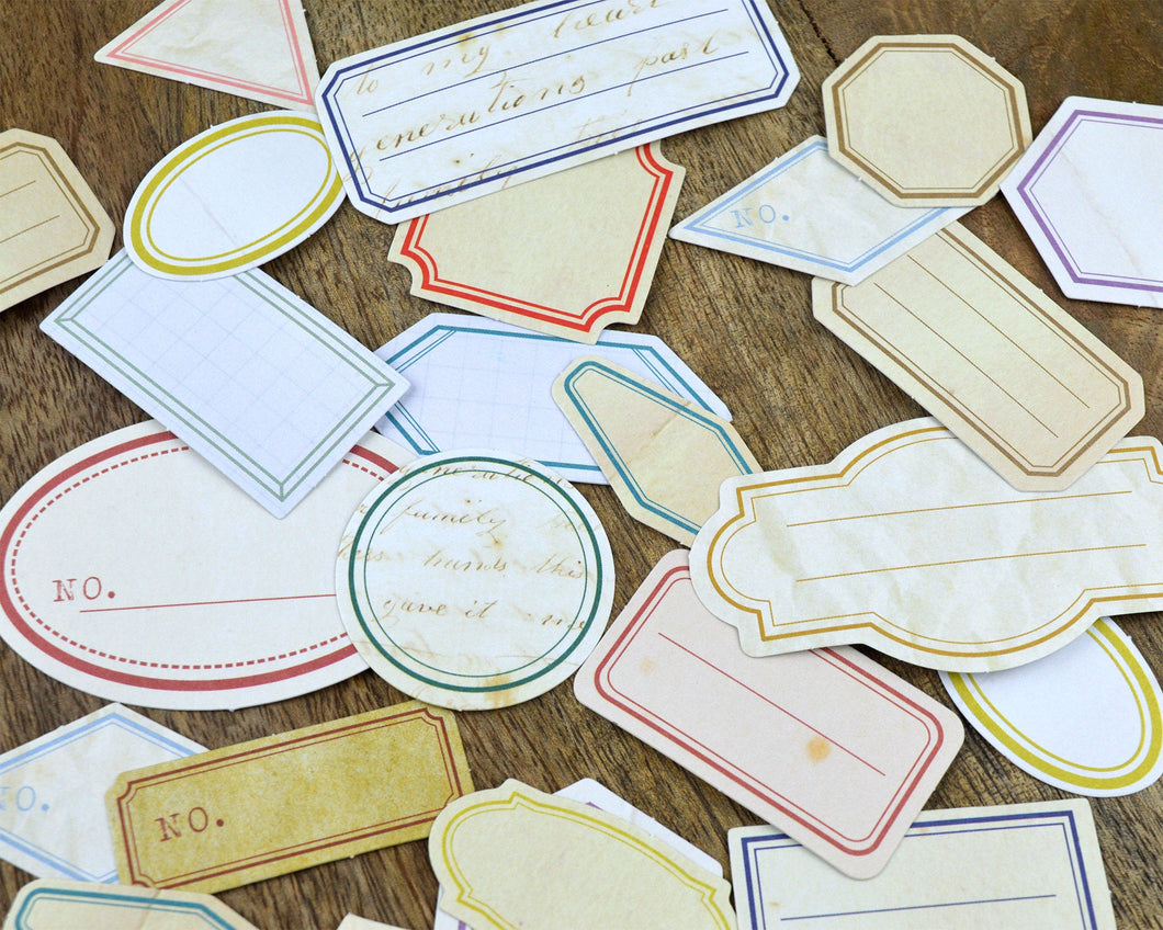 Vintage Label Stickers 60 pcs, Journaling Supplies - Distress Blank Labels
