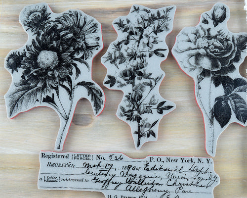Large Vintage Flower Stamp Set- Flower Shop Cling Stamp set by Tim Holtz