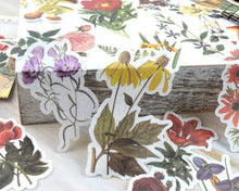 Bold Floral Washi Stickers 60 pcs, Junk Journal Ephemera, Flower, Rose, and Mushroom Stickers