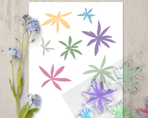 Floral Moods Flower and Leaf Clear Rubber Stamp Set