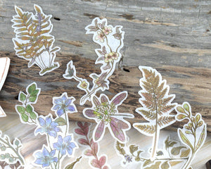 Botanical Washi Stickers 60 pcs, Flower and Leaf Stickers