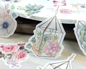 Terrarium Floral Journaling Supplies, Washi Stickers 60 pcs, Flower, Rose Stickers