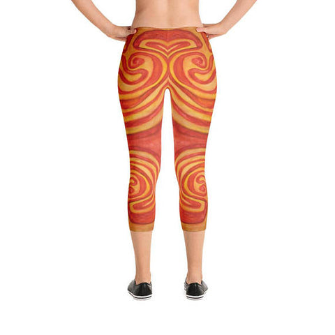 Labyrinth Meditation Maze Spandex and Polyester Capri Leggings for Yoga and Fashion #2