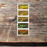 gold billet box authenticity stickers trvp holographic