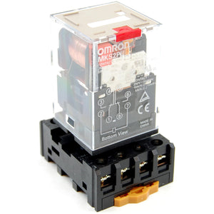 10A 8-pin 2-pole ice cube plug-in relay with socket, 110-120V AC coil