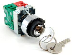 2 position maintained selector switch with key, 1 normally open (NO) contactor, 10A/240VAC