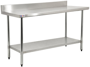 24x48 inch stainless steel commercial work table with backsplash