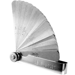 26-blade master feeler gauge with blades from 0.0015 inch to 0.025 inch