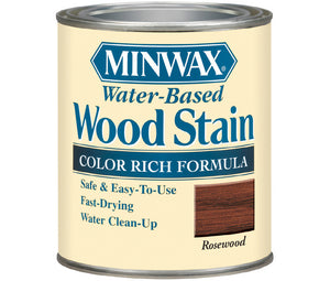 946mL (1 quart) can of MinWax Rosewood water-based wood stain
