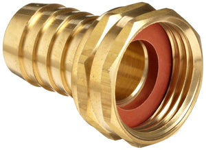 Brass 1/2 inch hose barb to female garden hose swivel coupling