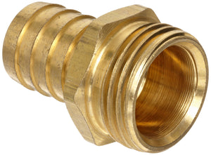 Brass 1/2 inch hose barb to male garden hose coupling