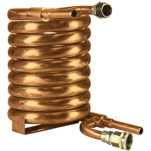 Convoluted counterflow chiller (5/8 inch diameter bare inner tube, male/female water hose connections)
