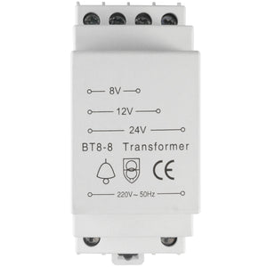 Doorbell transformer, 220-240V AC input, 8-24V AC output, any wattage
