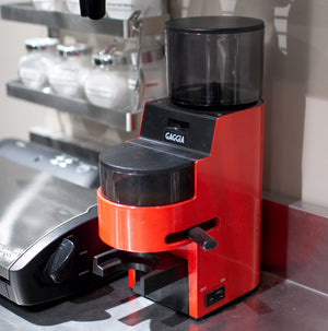 A Gaggia burr grinder used to mill the roasted barley super-fine for the best colour and flavour