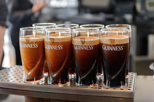 Guinness Dry Irish Stout at various stages of settling out