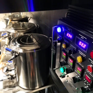 Electric Brewery Control Panel overlooking kettles