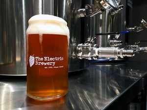 West Coast IPA brewed on The Electric Brewery in custom can glass