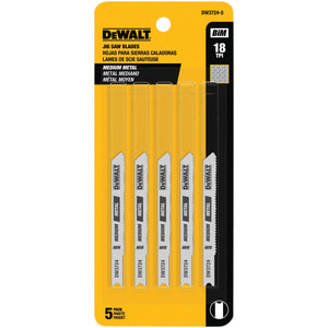 DEWALT DW3724-5 3-Inch 18 TPI Medium Metal Cut Cobalt Steel U-Shank Jig Saw Blade (5-Pack)