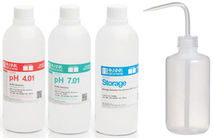 4.00 pH solution, 7.00 pH solution, storage solution, laboratory wash bottle