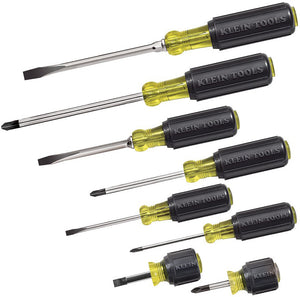 Screwdriver Set 8 Piece, 4 Phillips and 4 Flat Head Tips, Cushion Grip, Precision Machined Klein Tools 85078
