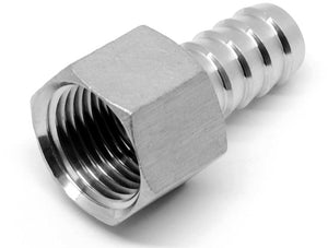 Stainless steel 1/2 inch NPT female x 1/2 inch barb fitting