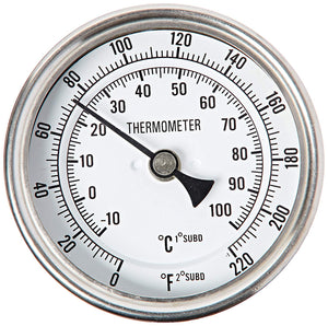 Stainless steel-bi-metal thermometer 1/2 inch NPT male with 2-4 inch probe