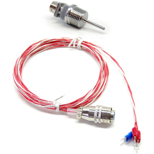 Stainless steel liquid tight RTD sensor, 1.5 inch probe, 1/2 inch NPT thread, detachable connector, Telfon cable
