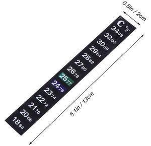 Stick-on strip thermometer