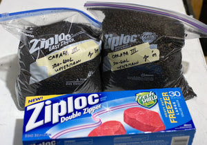 Specialty grain is first placed in Ziploc double zipper gallon storage bags