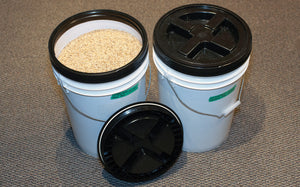 6 gallon 12 inch diameter food grade buckets with Gamma Seal lids are used to keep grain fresh