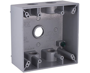 Weatherproof 2-gang outlet box with 1/2 inch holes