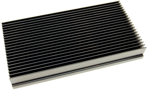 Custom black anodized heat sink, 10 x 5.375 x 1.375 inch