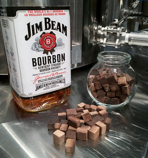 Bourbon and oak cubes ready to oak beer