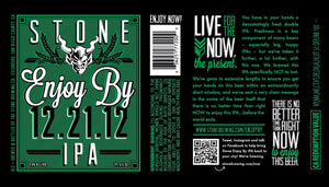 Stone Enjoy By Double IPA beer label