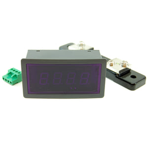 3 digit blue LED digital panel amp meter with shunt, 50A AC, 5V DC supply