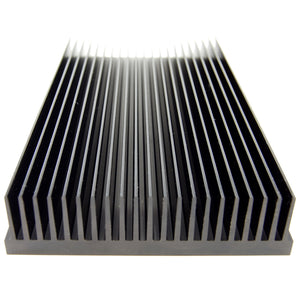 "Custom black anodized heat sink, 10"" x 5.375"" x 1.375"""