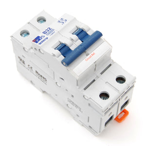 32A 2-pole breaker, DIN rail mount
