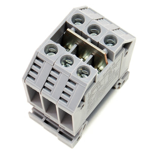 65A triple terminal block, DIN rail mount