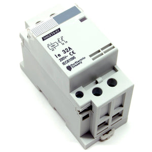 32A/250V DPST contactor, 110-120V AC coil, DIN rail mount