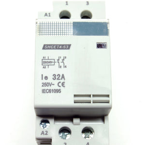 32A/250V DPST contactor, 220-240V AC coil, DIN rail mount