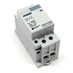 63A/250V DPST contactor, 110-120V AC coil, DIN rail mount