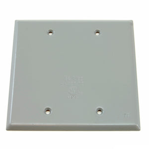 Weatherproof 2-gang blank cover with gasket
