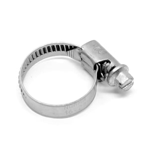 "Stainless steel smooth-band worm-drive hose clamp, 5/8"" to 1-1/16"" clamp diameter range"