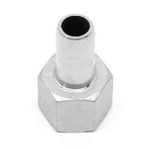 "Stainless steel 1/2"" NPT female x 1/2"" barb fitting"