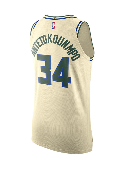 Nike Giannis Antetokounmpo City Edition Cream City Milwaukee Bucks Authentic Jersey